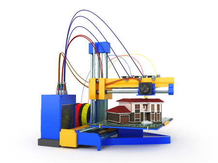 3d printer printing house on white background