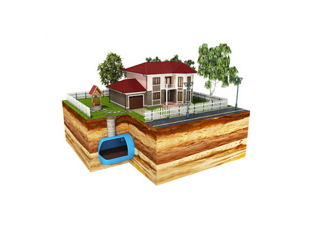 concept of Sewerage in a private house 3d render on white no shadow