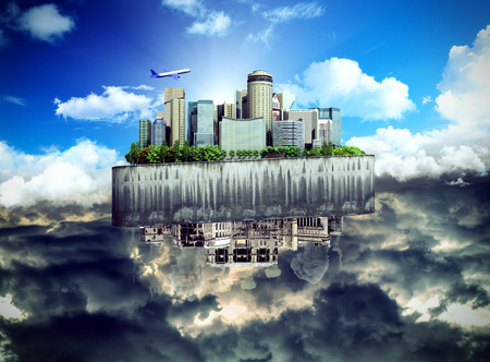 concept of the revival of society and of changing thinking Apocalyptic concept background of futuristic and destroyed city 3d ernder