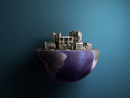 Apocalypse city in half of planet arse Apocalypse concept 3d rendering on blue