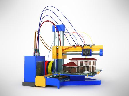 3d printer printing house on gray background Фото со стока