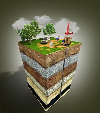 Olieboringen exploratie concept Ingenieur schrijven op het papier voor de aardgasleidingen Raffinaderij gas en olie Platte 3d illustratie voor infographics en ontwerp