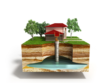 waterputsysteem Het beeld schildert een ondergrondse aquifer uit 3d op wit Stockfoto