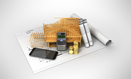 Construction calculation of drawings telephone home frame 3d render on a gray background