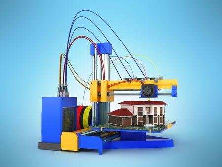 3d printer printing house on blue background Фото со стока - 85413877