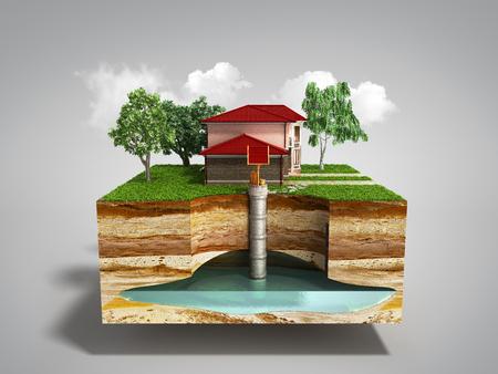 waterputsysteem Het beeld geeft een ondergrondse aquifer weer, 3d render op grijs