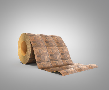 roll of linoleum with wood texture 3d illustration on grey