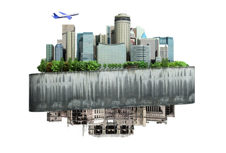 concept of the revival of society and of changing thinking Apocalyptic concept background of futuristic and destroyed city 3d ernder on white no shadow