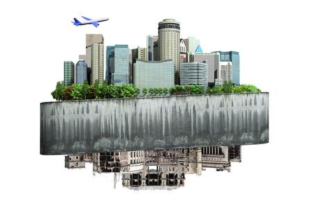 사회의 부흥과 사고의 변화의 개념 미래와 파괴 된 도시의 종말론 개념 배경 흰색에 아무 그림자