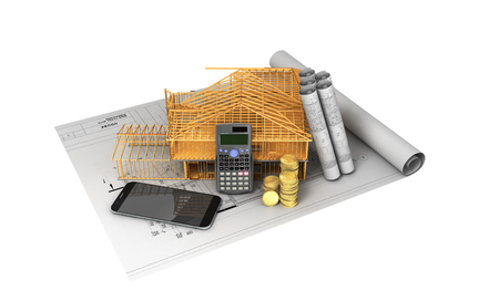 construction project: Construction calculation of drawings telephone home frame 3d render on a white background no shadow