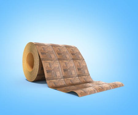 roll of linoleum with wood texture 3d illustration on blue