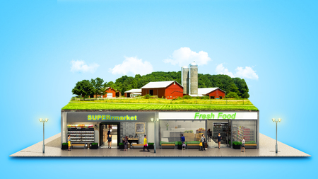 the concept of ecologically pure food showcases grocery supermarkets with a farm on the roof 3d render on blue  Stock Photo