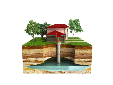 water well system The image depicts an underground aquifer 3d render on white no shadow