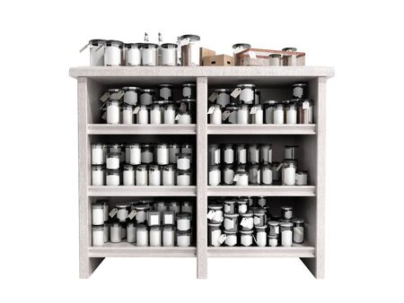 bedside: trading table with jars 3d render on white background no shadow Stock Photo