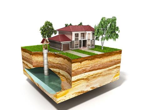 물 잘 시스템 이미지는 흰색에 지하 대수층 3d 렌더링을 보여줍니다.