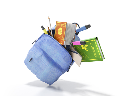 Blue backpack with school supplies 3d render on white Stock Photo - 86322030