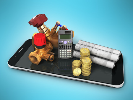 The concept of calculating heating cocks for heating systems 3d rendering on a blue background