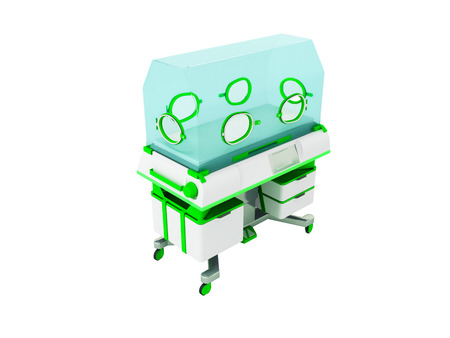 Concept of incubator for children white green 3d rendering on white background no shadow