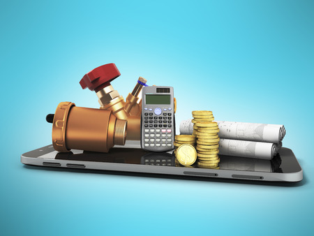 The concept of a ball valve air valve calculation of heating systems crane fittings money calculator 3d render not a blue background