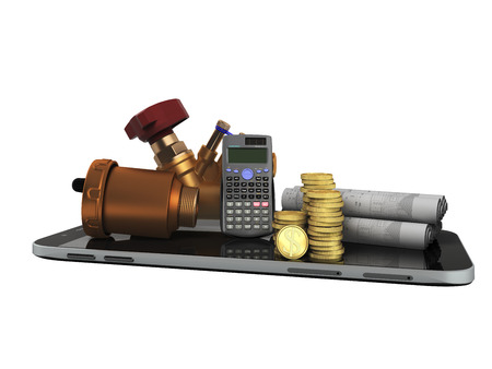 The concept of a ball valve air valve calculation of heating systems crane fittings money calculator 3d render not a white background no shadow Stock Photo