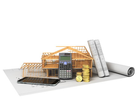 The concept of building a country house calculation of building materials saving money calculator communication phone 3d render on white background no shadow Reklamní fotografie