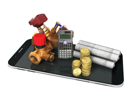 The concept of calculating heating cocks for heating systems 3d rendering on a white background no shadow