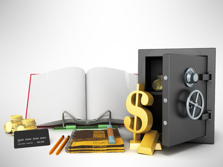 Concept of school and education economy economy 3d render on gray background Stock Photo