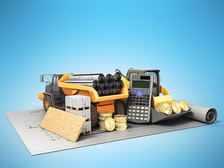 The concept of road repair calculations excavator dump truck blueprints 3d render on blue background Stock Photo