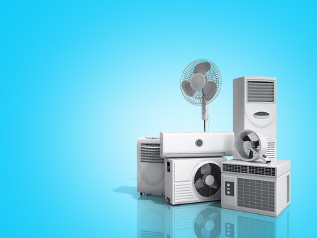 air conditioning equipment 3d rensder on blue background Фото со стока - 86468287