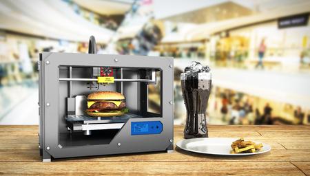 3D 프린터 인쇄 햄버거 3d 렌더링 성공 음식 메이스 개념