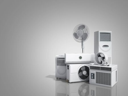 air conditioning equipment 3d rensder on greybackground Фото со стока