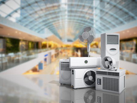 air conditioning equipment 3d rensder on market background