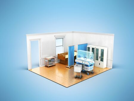 Isometric medical room incubator for children 3d render on blue background Stock Photo