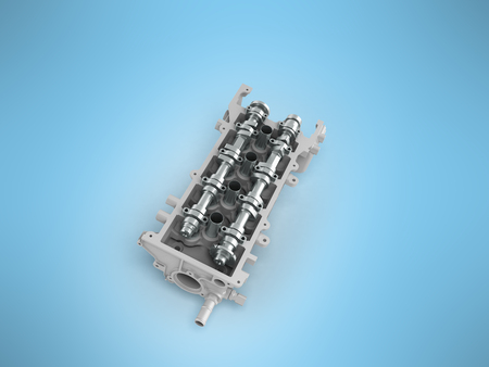 poleas: The head of the block of cylinders is disassembled perspective 3d render on a blue background
