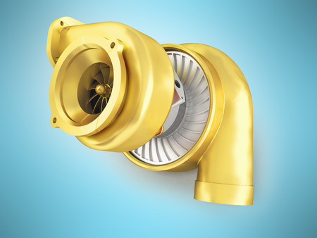 Golden turbine for a 3d rendering machine on a blue background Stock Photo