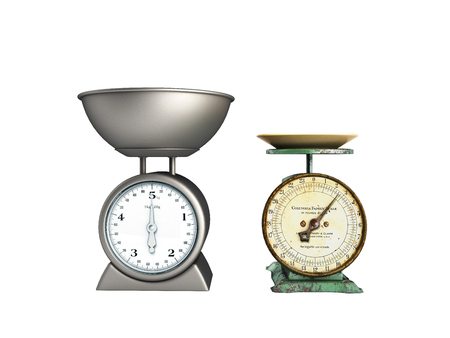 Kitchen scales comparison 3d rendering on white background no shadow