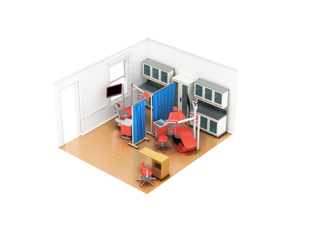 Isometric dentist office on two posts red 3d rendering on white background no shadow