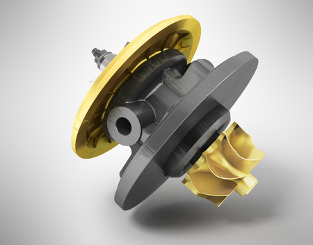 Cartridge for turbine car with gold inserts 3d render on gray background