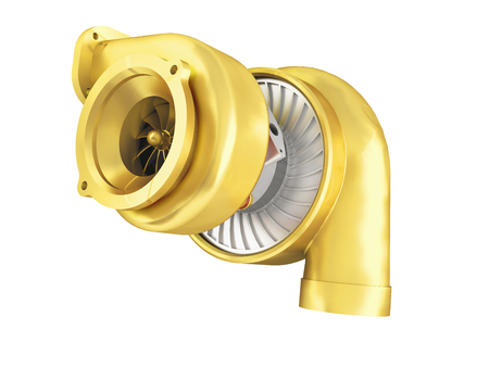 Golden turbine for a 3d rendering machine on a white no shadow background