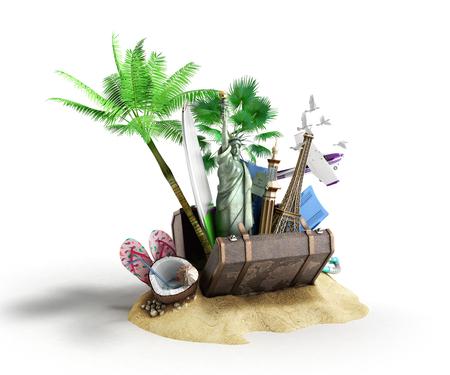 Concept d'attractions de voyage et de tourisme et valise brune pour voyage illustration 3D sur blanc sans ombre