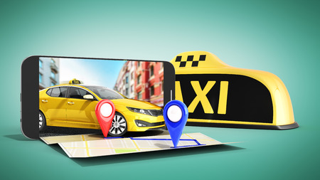 Ordering a taxi cab online internet service transportation concept navigation pin pointer with checker pattern and yellow taxi and phone 3d render on green Reklamní fotografie - 87173595