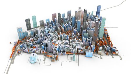 Architectural 3D model illustration of a large city on a white background Stock Photo