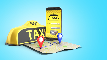 Ordering a taxi cab online internet service transportation concept navigation pin pointer with checker pattern and yellow taxi and phone 3d render on blue
