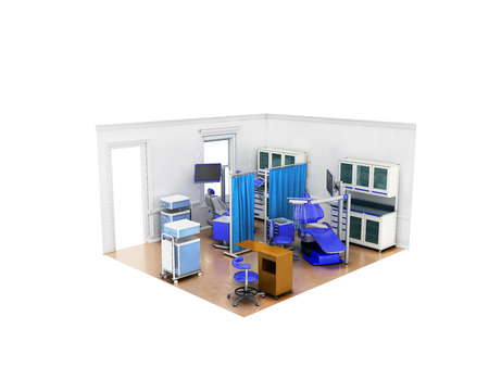 Isometric dental room with twin chairs diagnostic department blue 3d render on white background no shadow