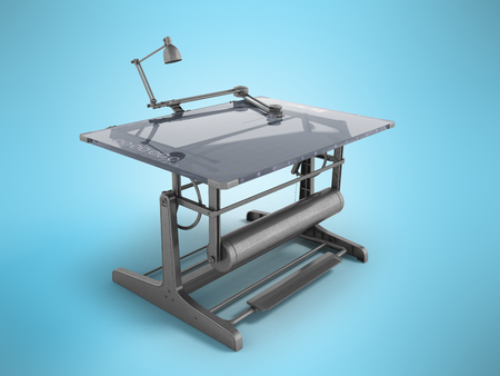 Electronic drawing table for drawing with regulators 3d rendering on a blue background Stock Photo