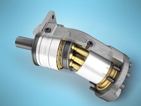 Hydraulikmotor in einer Seitenansicht 3d render auf blauem Hintergrund Standard-Bild - 87468222