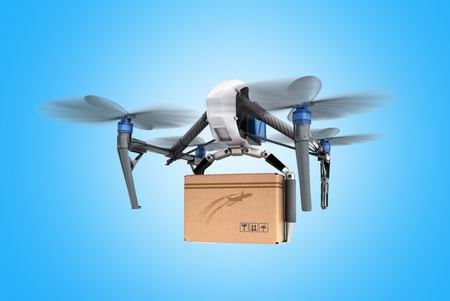 delivery conceptGeneric Design Remote Control Air Drone Flying Craft Box Post Fast Delivery 3D rendering on blue