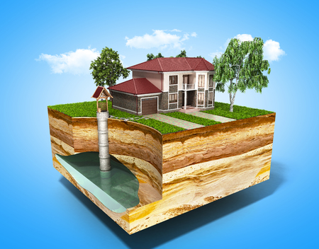 groundwater: water well system The image depicts an underground aquifer 3d render on blue