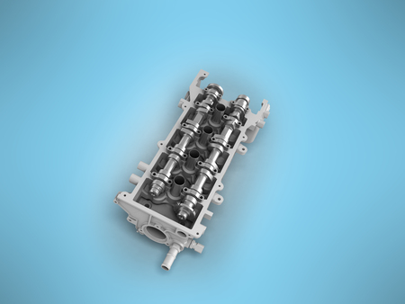 The head of the cylinder block disassembled 3d render on a blue background Stock Photo