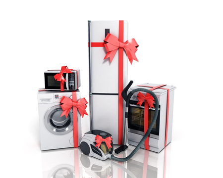 Home appliances as a gift Group of white refrigerator washing machine stove microwave oven vacuum cleaner with red strip isolated on white background 3d